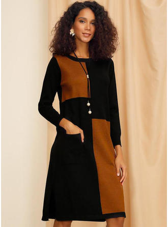 Color Block Long Sleeves Shift Knee Length Casual Dresses