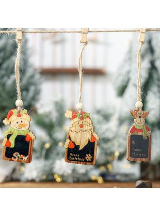 Monigote de nieve Reno Papa Noel Navidad Colgando De madera Colgante de navidad Adornos colgantes de árboles (Juego de 2)
