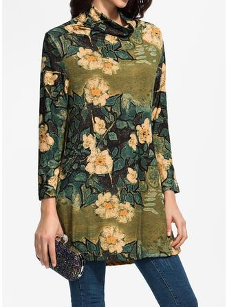 Nadrukowana/Kwiatowy Długie rękawy Koktajlowa Nad kolana Casual Sukienki