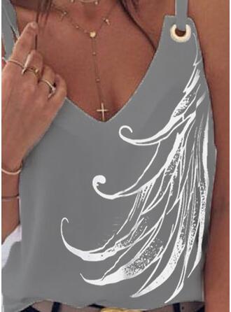 Impresión Cuello en V Sin mangas Casual Camisetas sin mangas