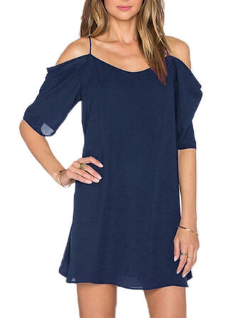 Solid 1/2 Sleeves Shift Mini Casual Dresses