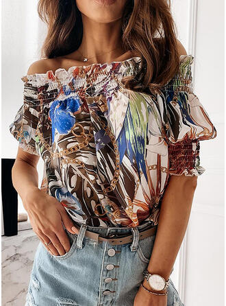 Print Off the Shoulder Lantern Sleeve 1/2 Sleeves Casual Blouses