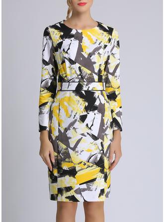 Print Long Sleeves Sheath Knee Length Casual/Elegant Dresses