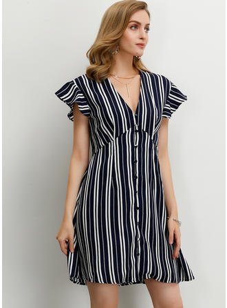 Striped Short Sleeves A-line Above Knee Casual Dresses