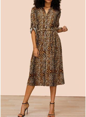 lampart Długie rękawy W kształcie litery A Casual Midi Sukienki