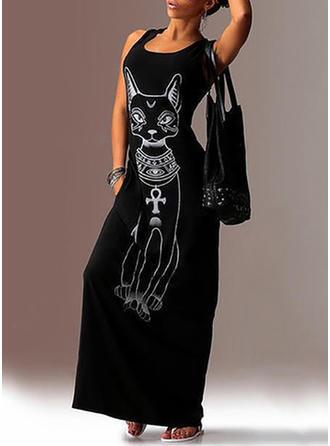 Cotton Blends With Print Maxi Dress