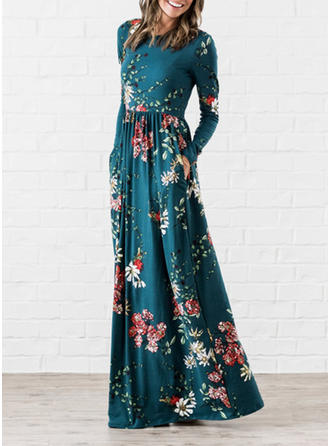 Print/Floral Long Sleeves A-line Maxi Casual/Elegant Dresses