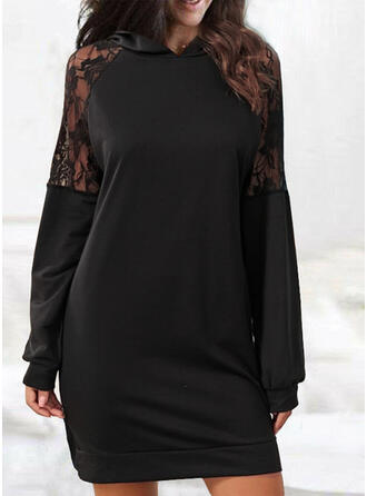 Lace/Solid Long Sleeves Sheath Above Knee Little Black/Casual Sweatshirt Dresses