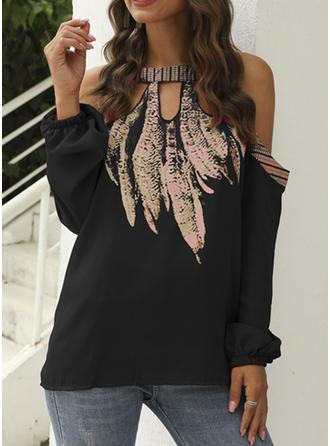 Print Cold Shoulder Long Sleeves Casual Elegant Blouses