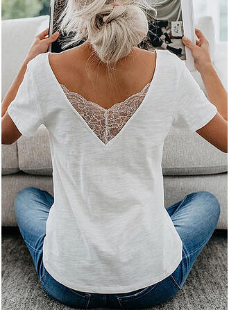 Solid Lace V-Neck Short Sleeves Casual Elegant T-shirts