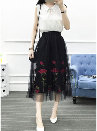 Polyester Embroidery Floral Mid-Calf Pleated Skirts