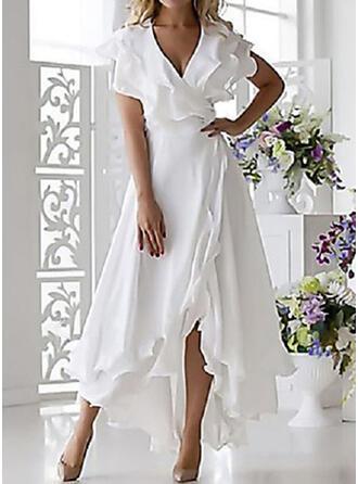 Einfarbig Kurze Ärmel A-Linien Freizeit/Elegant Midi Kleider