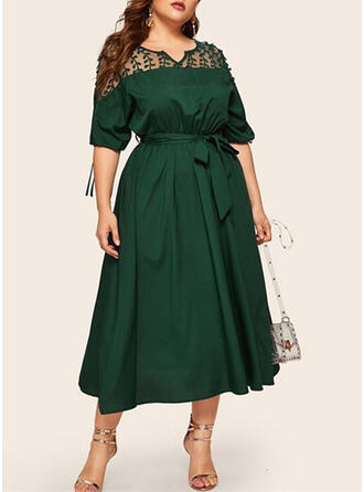 Lace/Solid 1/2 Sleeves A-line Casual/Plus Size Midi Dresses