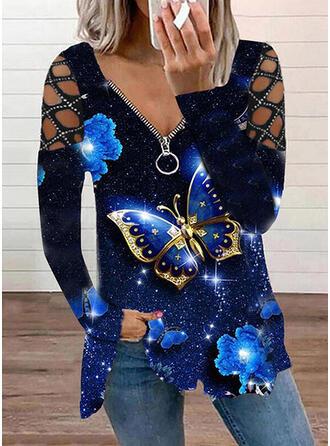 Printti butterfly Kylmä olkapää Pitkät hihat T-paidat