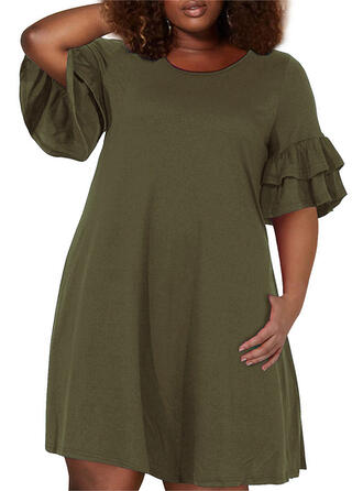 Solid 1/2 Sleeves/Flare Sleeves A-line Above Knee Casual/Plus Size Dresses