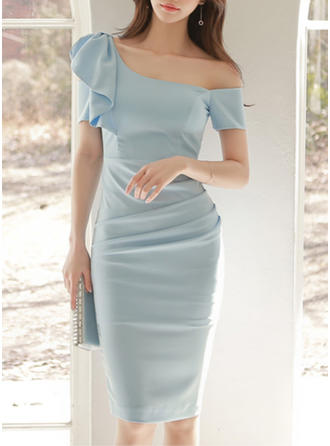 Polyester/Cotton With Stitching/Ruffles Knee Length Dress