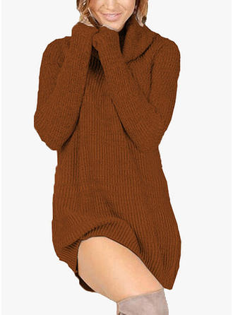 Solid Long Sleeves Shift Casual Dresses