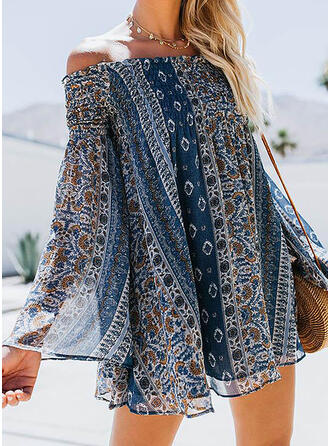 Print Long Sleeves/Flare Sleeves Shift Above Knee Casual/Boho/Vacation Dresses