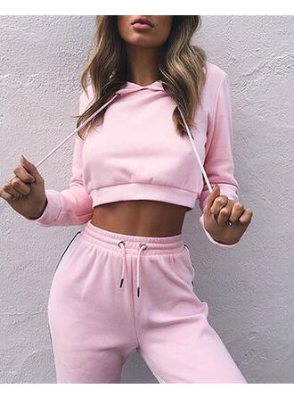 Round Neck Long Sleeves Solid Color Top & Pant Sets
