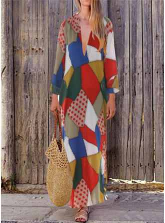 Patchwork Long Sleeves Shift Maxi Casual Dresses