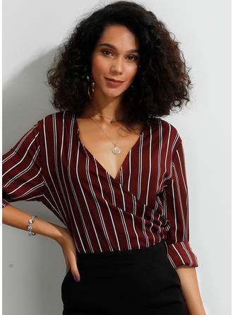 Striped V Neck 3/4 Sleeves Casual Blouses