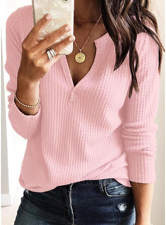 Solid V neck Knit Tops