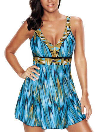 Colorful Strap V-neck Beautiful Plus Size Swimdresses Swimsuits