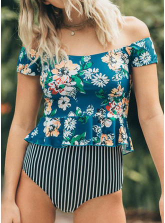 Floral Stripe Print Off the Shoulder Bohemian Fresh Tankinis Swimsuits
