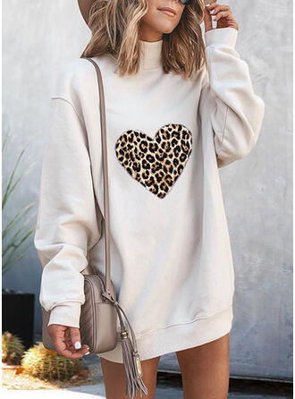 Leopard høj hals Lange ærmer Sweatshirts