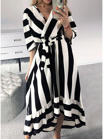 Striped 3/4 Sleeves A-line Asymmetrical Casual Dresses
