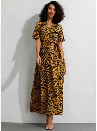 Animal Print Short Sleeves A-line Maxi Casual Dresses