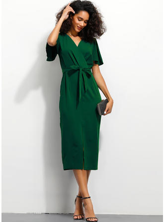 Solid Short Sleeves Sheath Midi Casual/Elegant Dresses