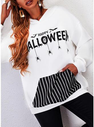 Halloween Imprimé Rayures Letter Manches Longues Sweat-shirt