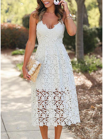Lace Spaghetti Straps Midi A-line Dress