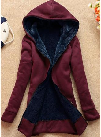Di lana Maniche lunghe Colore solido Cappotto Sottile