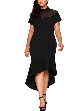 Solid/Patchwork Short Sleeves Sheath Asymmetrical Little Black/Casual/Plus Size Dresses