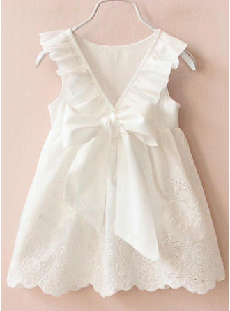 Girls Round Neck Solid Bow Casual Cute Dress