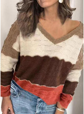 Color Block Chunky knit V neck Sweaters