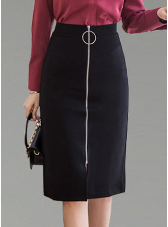 Polyester Cotton Plain Knee Length Pencil Skirts