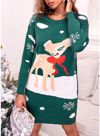 christmas Print Hert Sneeuwvlok Ronde Hals Casual Sweaterjurk
