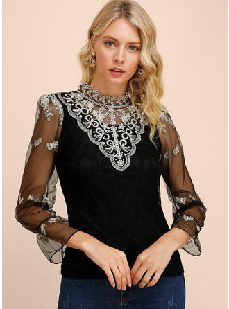 Embroidery Lace Stand-up Collar 3/4 Sleeves Casual Elegant Blouses