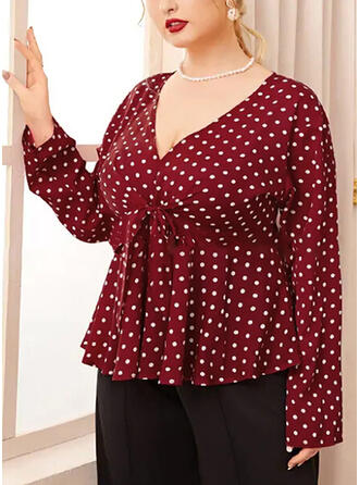 PolkaDot V-Neck Long Sleeves Casual Elegant Plus Size Blouses