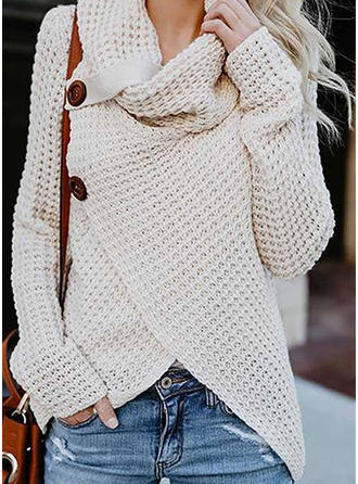 Acrylic Turtleneck Print Cable-knit Cardigan