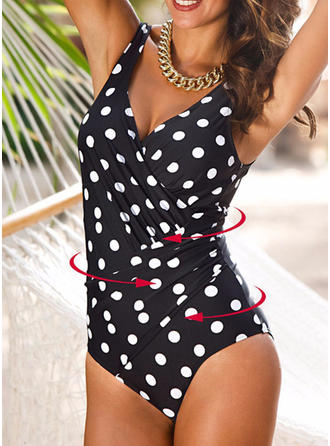 Dot V-neck Elegant One-piece Swimsuits