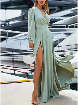 Solid Long Sleeves/Lantern Sleeve A-line Party/Elegant Maxi Dresses