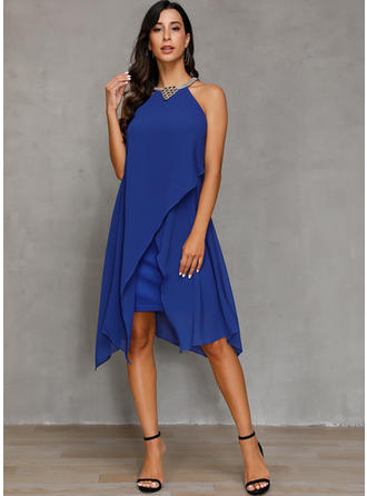 Solid Sleeveless Sheath/Shift Knee Length Party Dresses