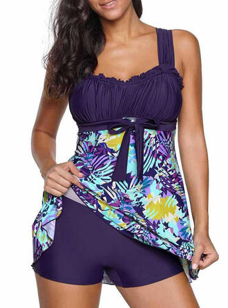 Floral Knotted Strap Beautiful Swimdresses Swimsuits