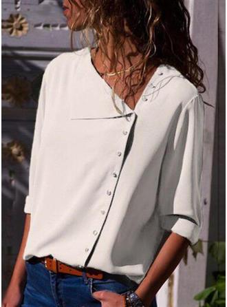 Polyester Col V Couleur unie Manches longues Blouses de Loisirs