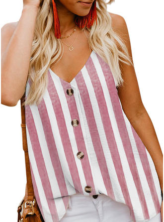 Striped Spaghetti Strap Sleeveless Button Up Casual Sexy Blouses