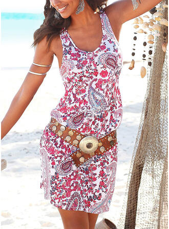 Print/Floral Sleeveless Bodycon Above Knee Casual/Vacation Dresses